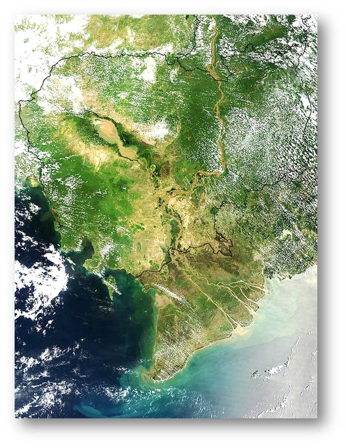Figure 1: Mekong River Basin from Space, MODIS true color image